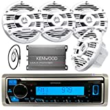 Kenwood Single DIN Marine Digital Media Bluetooth Receiver, 4X Kenwood 6.5' 2 Way White Marine Speakers, Kenwood 4-Channel Amplifier, Antenna - 40'