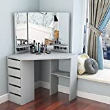 Corner Dressing Table Makeup Desk with Three-Fold Mirror and 5 Drawers Wooden Bedroom Vanity Table (Gray)
