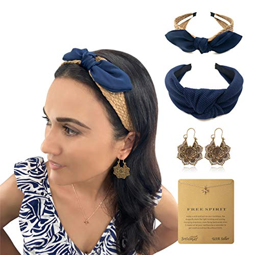 Soramar Headbands Boho Earrings Dainty Layered Necklace Set Accessories for Women and Teenage Girls. Raffia Straw Ribbon and Knotted Head Hoops for Any Occasion. Makes Great Gifts for Her. (Navy Blue)