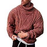 P12cheng Pull tendance à col roulé et manches longues pour homme - Couleur unie - En tricot torsadé - Pour automne et hiver - Rouge clair - Taille XL
