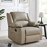 Thomasliving+ Premium Leather Recliner-Heavy Duty Chair with Thick Seat Cushion and Backrest- Faux Leather Pouch&Drink Holders Home Theater Seating- Manual Bedroom&Living Room Chair Reclining Sofa