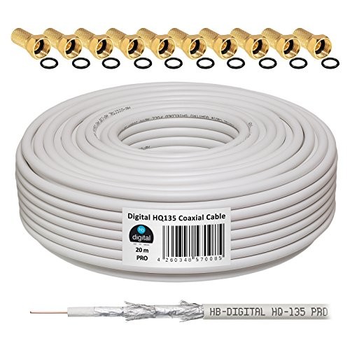 HB-Digital-Cavo coassiale per DVB-S, DVB-S2 C e DVB-T (130 dB, HQ-135, Pro, lunghezza, BK, 10 connettori dorati)