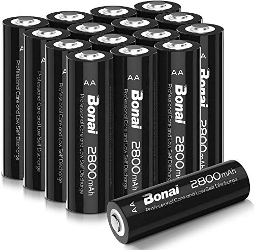 BONAI AA Rechargeable Batteries 2800mAh 1.2V Ni-MH Low Self Discharge 16 Pack - AA Batteries for Solar Lights, Garden Lights