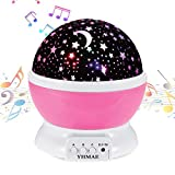 YHMAE Music Night Light Projector Lamp Baby Star Projector 360 Degree Rotating 9 Multicolor Changing with Rechargeable Battery,12 Soft Light Music for Relax and Sleep (Pink)