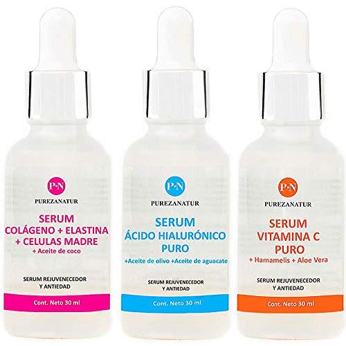 Kit Facial Serum Acido Hialurónico, Vitamina C y Células Madre anti edad…