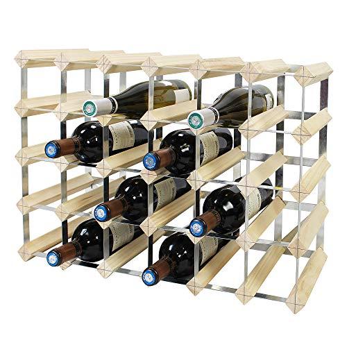 Todeco - Portabottiglie Vino, Cantinetta Portabottiglie, Portabottiglie Vino Legno per 30 Bottiglie, Legno Naturale