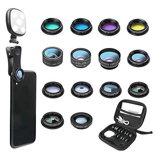 Tech :  Kit d'objectif pour appareil photo de téléphone Godefa, objectifs 14 en 1 avec anneau lumineux Selfie pour iPhone Xs, Xr, 8 7 6s Plus, Samsung et autres smartphones Andriod, clip universel sur grand angle + macro + zoom, objectifs de caméra et plus  , avis