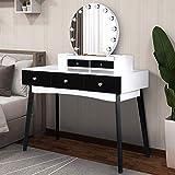 AILEEKISS Makeup Vanity Table Set with LED Mirror Adjustable Brightness Dressing Table with Drawers Bedroom Cushioned Stool Bedroom Makeup Vanity Desk Multifunctional Writing Desk (Black&White)