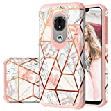 Moto G7 Power Case, Moto G7 Supra/Moto G7 Optimo Maxx Case, Fingic Rose Gold Marble Design Shiny Glitter Bumper Hybrid Hard PC Soft Rubber Silicone Cover Anti-Scratch Shockproof Protective Case 2019