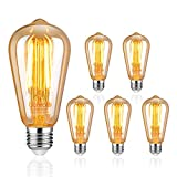 Uchorlls Bombilla de Filamento LED E27, 6W (equivalente a 60W), 700LM, Luz Cálida, No Regulable,E27...