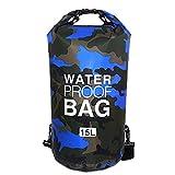 Sacs Etanches Camouflage Dry Bag Bâche PVC pour Activités de Plein Air et Sports Camping Nautique Kayak Pêche (Bleu foncé, 15L)