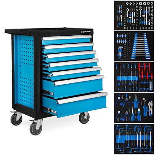 EBERTH Servante d'atelier avec Outils (7 tiroirs à roulements à billes, 5 tiroirs équipés d'outils, verrouillables, 4 roues, frein de stationnement, revêtement par poudre)