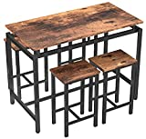 MIERES 5 Pieces Kitchen Table Set, Wood Dining Table Set for 4, Wood Elegant Pub Height Table Kitchen Dining Table Set for Kitchen/Living Room Occasions/Dining Room/Bar, Rustic Brown/Height 34.7'