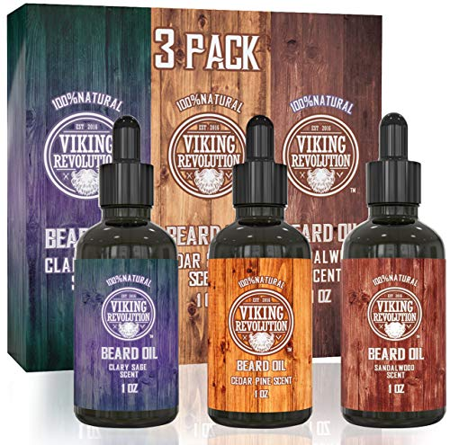 Beard Oil Conditioner 3 Pack - All Natural Variety...