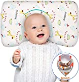 Acksonse Baby Pillow for Sleeping Memory Foam Age for 3-36 Months Infant Pillow Toddler Pillow Head Shaping Prevent Flat Head Syndrome Organic Cotton Cover Newborn Gift for Girls Boys with Baby Bib