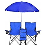 GoTeam Portable Double Folding Chair w/Removable Umbrella, Cooler Bag and Carry Case - Blue