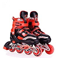 Best value inline skate - value driven, kids adjustable skate with great features.(Push-button expansion) Premium performance - enjoy your smooth, quite ride with high quality abec-7 bearings, 72mm polyurethane wheels, aluminium frame and premium sto...