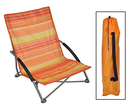 HI Strandstuhl LIDO klappbar, Stahlgestell, Bezug orange/gelb gestreift
