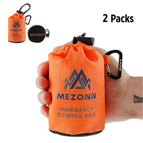Mezonn PE Emergency Sleeping Bag Survival Bivy Sack- Use as Emergency Space Blanket, Lightweight Sleeping Bag, Survival Gear Outdoor, Hiking, Camping - Includes Nylon Sack Carabiner