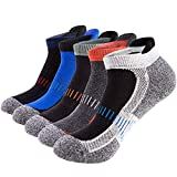 Mens Low Cut Ankle Athletic Socks Cotton Mesh Cushioned Running Ventilation Sports Tab Socks (5 pack) (Gray/Red/Military Green/Blue/Dark Blue)