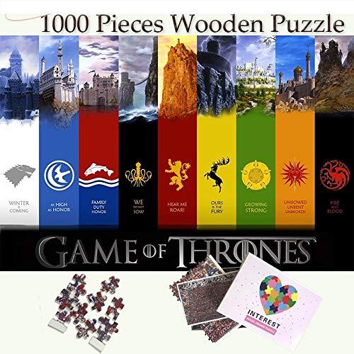 yingPT 1000 Pezzi di Puzzle di Legno-Game of Thrones Distintivo di Famiglia Giocattoli di Puzzle in...