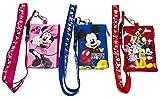 3 X Disney Mickey Minnie & Friends Lanyard with ID Badge Holder Wallet Coin Purse Ticket Key Chain