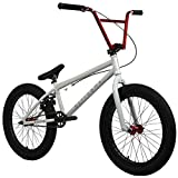 "Elite 20' & 18"" BMX Bicycle Destro Model Freestyle Bike - 4 Piece Cr-MO Handlebar (20' Light Grey-Red)"