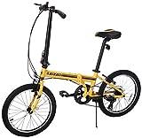 EuroMini ZiZZO Campo 28lb Lightweight Aluminum Frame Shimano 7-Speed Folding Bike 20-Inch (Yellow 2019)