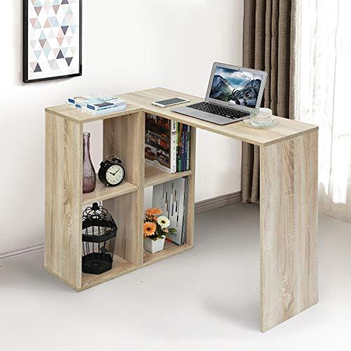 FurnitureR Mesa de Escritorio de Estudiante de Haya con estantería para Espacio pequeño Mesa de Consola de Esquina de 90 cm para tareas Color de Haya