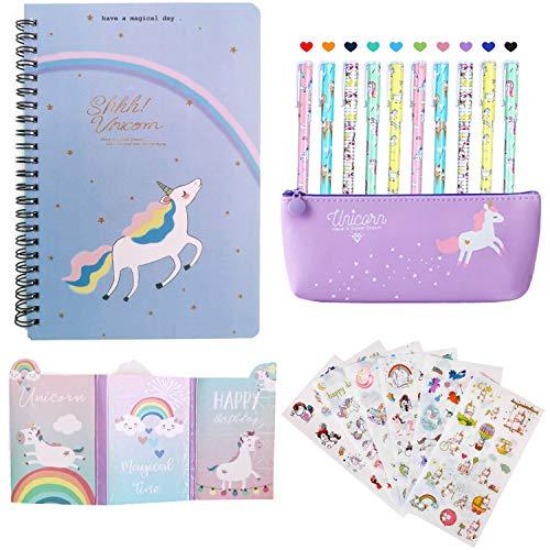 Set Regalo Ragazza Unicorno, Penne per Unicorno Ragazze Regalo di Compleanno per Bambine, Simpatiche Penne per Unicorno Set e Astuccio e Unicorno Taccuino e Set Adesivo Unicorno(Porpora)