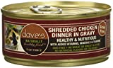 Dave's Pet Food Naturally Healthy Shredded Chicken in Gravy Cat Food, Canned Cat Food, 5.5oz cans, Case of 24, Made in the USA