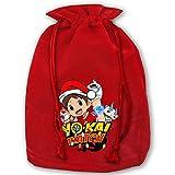 IUBBKI Yo-Kai Watch Banda de Navidad Boca Bolsa de Navidad Saco de Papá Noel con cordón Bolsa de Regalo roja Mochila para Suministros de Fiesta de Navidad