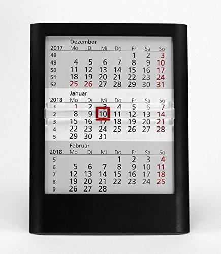 HiCuCo 3-Monats-Tischkalender für 3 Jahre (2020, 2021 und 2022) - Aufstellkalender - schwarz - TypW1