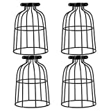 XIDING Farmhouse Vintage Industrial Metal Wire Cage, Old Open Style Lamp Guard Adjustable for Hanging Pendant Lighting, Perfect DIY Lamp Shade Replacement Accessories, Pack of 4