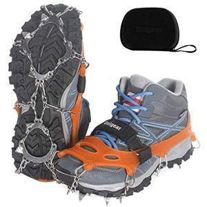 Unigear Crampones Ligero de Nieve Hielo 18 Puntas Dientes De Acero Zapatos Antideslizante para Cámping Alpinismo Acampada Senderismo Marcha Invierno 11