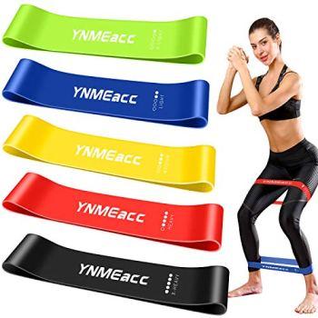 YNMEacc Bande Élastique Fitness, [Lot de 5] Bande de Résistance Fitness en Latex Naturel Équipement d'Exercices pour Musculation, Yoga, Pilates, avec Sac de Rangement Un Guide D'utilisation