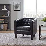 BELLEZE Modern Berlinda Tufted Upholstered Club Chair Cushion Tub Accent Arm Chair Living Room, Wooden Legs, Faux Leather, Black