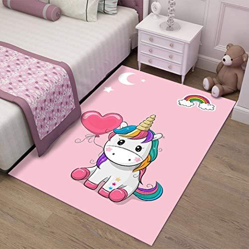 JWANS Tappeto Camera da Letto Cute Unicorn Anti Slip Tappetino Tappeti per Soggiorno per Ragazze...