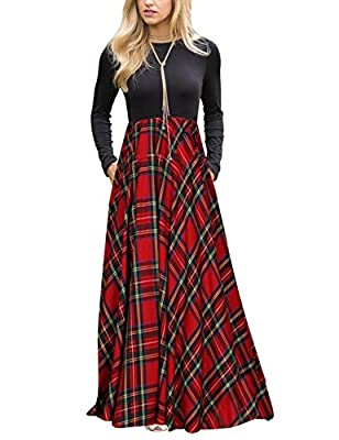 Size Guide:S=US 4-6,M=US 8-10,L=US 12-14-12,XL=16,Stretchy and soft fabric,we accept 30 days money back! Unique Design: Solid torso with plaid bottom, Elastic Waist, floor length, Round neckline A beautiful tartan maxi dress is a staple in any women'...
