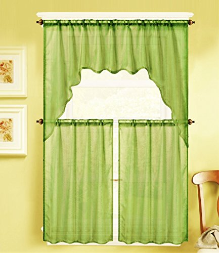GorgeousHomeLinen (Okay66) three Piece Voile Rod Pocket Window Kitchen Sheer Curtain Set 2 Tier Panels & 1 Swag Valance, Numerous Strong Colours (LIME GREEN)