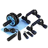 TOMSHOO 5-in-1 AB Wheel Roller Kit AB Roller Pro with Push-UP Bar, Hand Griper, Jump Rope and Knee Pad - Portable Equipment for Home Exercise, Workout (Upgraded Version)