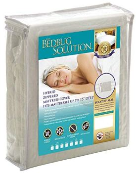 BARGOOSE HOME TEXTILES, INC. Bedbug Solution Hybrid, Zippered Waterproof Mattress Cover. Fits Mattresses up to 12 Inches Deep, White