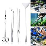 Czemo Aquarium Aquascaping Kit de Acero Inoxidable Acuario Tanque Planta Acutica Herramientas Conjuntos Pinzas, Tijera, Esptula