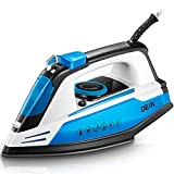 Deik Steam Iron, Vertical Steamer with Anti-Calcium System, Non-Stick Soleplate, Self-Cleaning Function, Anti-Drip, Rapid Heating, Blue
