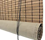 Seta Direct, Brown Bamboo Slat Roll Up Blind with Privacy Backer Liner - 72-Inch Wide by 72-Inch Long