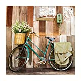 Cuadro de Bicicleta Vintage en Lienzo Verde 80x80 cm - LOLAhome