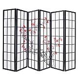 PEGANE Paravent Japonais Fleur de Cerisier en Bois Noir de 6 pans, L264 x...