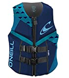 O'Neill Wetsuits Women's Reactor USCG Life Vest, Navy/River/Turquoise, 12