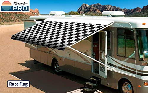Shade Pro RV Vinyl Awning Replacement Fabric - Checkered Flag 18'...