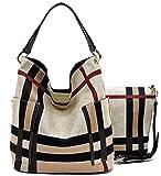 Handbag Republic Side Pockets Tote w/Inner Bag Crossbody- Plaids (Coffee Straps)
